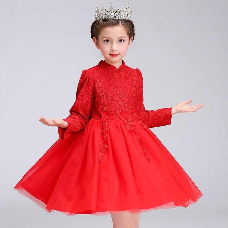 Long Sleeve Winter Flower Wedding  Girls Princess Chinese Style Dress Kids Teenagers Children Red Cheongsam New Year Costumes <br>