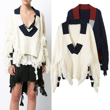 New winter temperament deep V collar sweater color irregular twist tassel sweater(China)
