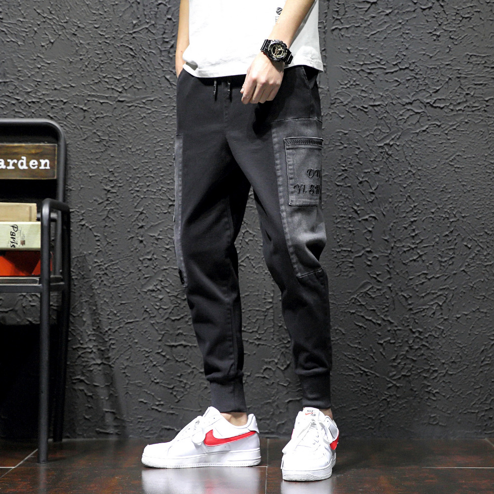 High Quality Casual Pants Men Brand New Streetwear Men Harem Pants Loose All Match Hip Hop Joggers Embroidery Trousers Men 36-28