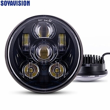 "5.75"" 5 3/4 LED Motorcycle Headlight Daymaker Black For Harley Sportster 1200 XL1200L Custom XL1200C 883 XL883 883L XL883R 48(China)"