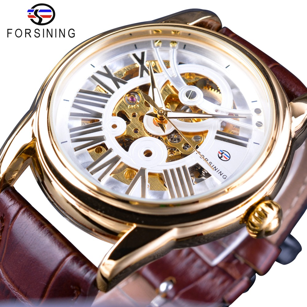 Forsining Official Exclusive Sale Brown Leather Roman Number Retro Luxury Design Men Watch Top Brand Automatic Wristwatch Clock<br>