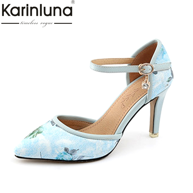 Karinluna Womens Flower Print Mary Jane High Heel Summer Shoes Woman Pointed Toe Less Platform Pumps Big Size 31-46<br>