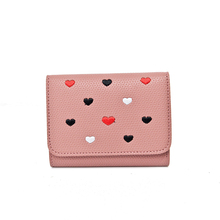 Pink Short Heart Dot Women's Wallets Multifunction Lady Mini Purse Card Coin Purse Girls Photo Holder Brand Hasp 3 Fold Wallet(China)