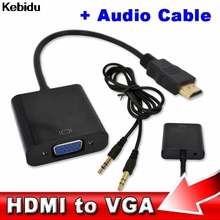 1pcs Video Converter  HDMI Male to VGA RGB Female HDMI to VGA Cable 1080P for PC Laptop