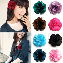 1PC Hot Multicolor Women Hair Clip Hairpin Peony Flower Beauty Decoration Chiffon 3D Brooch Temperament(China)