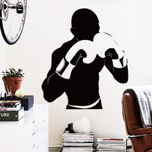 Art Design home decoration cheap Vinyl boxing player Wall Sticker removable house decor sports match gym decorative decals(China)