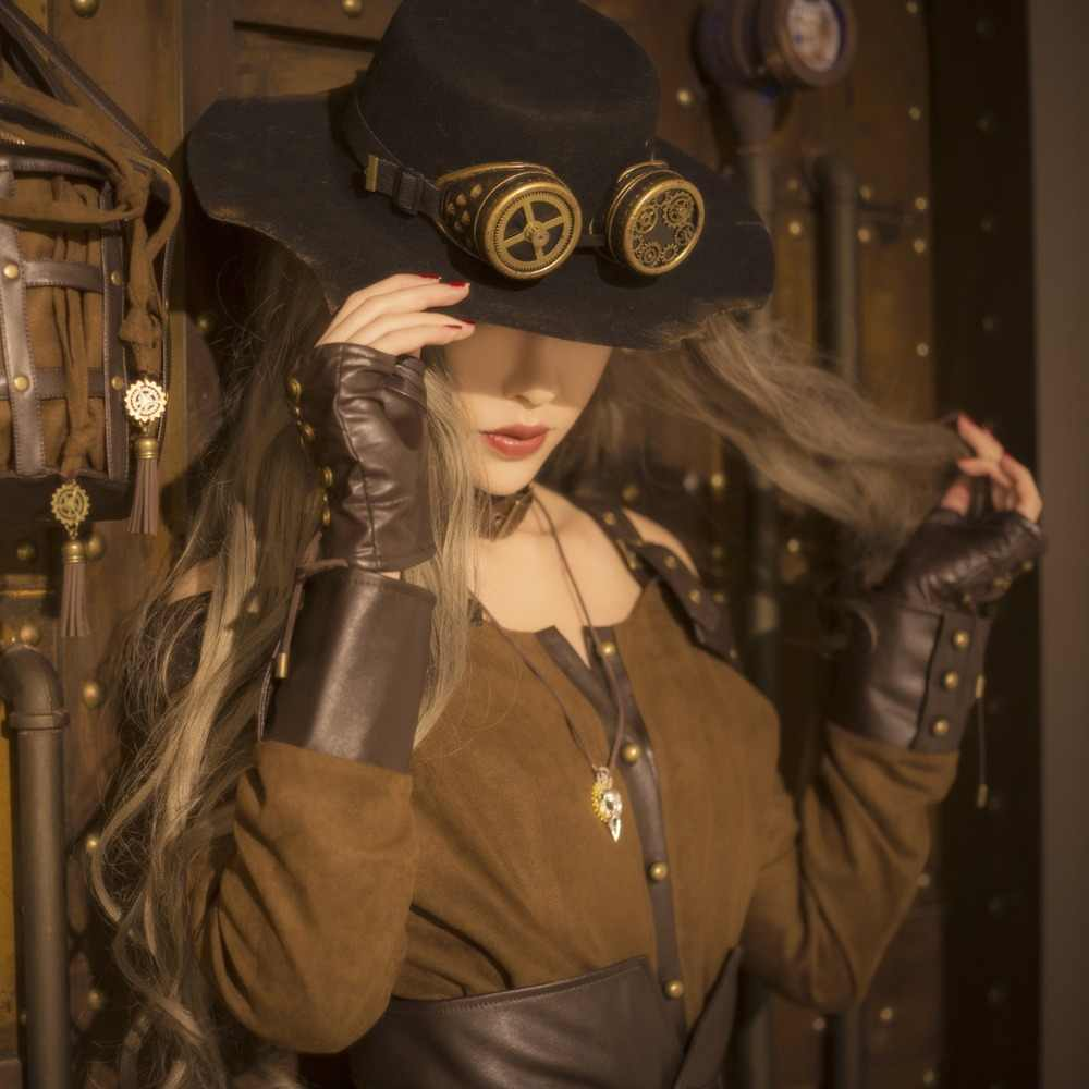 128787be87f Detail Feedback Questions about Women s Steampunk Deluxe Woolen Top Hat  with Goggles Gears BLACK on Aliexpress.com