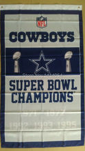 Dallas Cowboys Super Bowl Champions Flag 150X90CM Banner 100D Polyester3x5 FT flag brass grommets 001, free shipping(China)