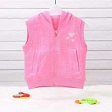 LeJin Baby Girl Clothing Boys Girls Hooded Vest Hoodies Waistcoat Outerwear Jacket in Autumn in Jacquard Cotton(China)