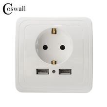 Manufacturer Coswall Wall Power Socket 16A EU Standard Outlet With 2A Dual USB Charger Port for Mobile White Silver Gold 3 Color()