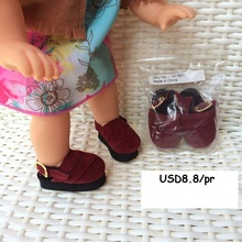 "[DY028]2016 Free Shipping 16"" Disyne Doll Shoes # Wine Red Shoes for 16 inch Disyne girl doll accessories for retail doll shoes"