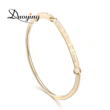 DUOYING 40*4 mm Gold Bar Bangle Bracelet Custom Name Copper Bracelet Personalize Initial Engrave Name Bracelet & Bangle for Etsy(China)