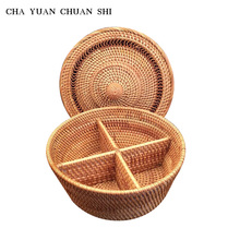 CHAYUANCHUANSHI Vietnamese Rattan Woven Handmade Separator Storage Boxes Dried Fruit Candy Snack Dessert Plate Storage Organizer