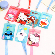 1 PCS Kawaii Cartoon Hello Kitty Baymax Fluorescent Powder Silicone Bus Card Cover Hanging School Job Id Card Passport Holder
