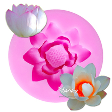 M594 1PCS Lotus Shape Chocolate Candy Jello 3D Silicone Mold Cartoon Figure/Cake Tools Soap Mold Sugar Craft Cake 4.6*1.6cm
