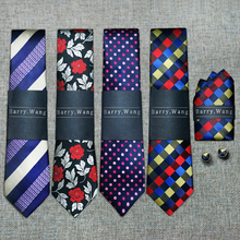 New Arrival 40 Styles Brand Men`s 100% Silk Ties Jacquard Woven Gravata Necktie Hanky Cufflink Sets For Wedding Party Business(China)