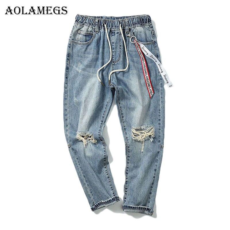 Aolamegs Ribbon Ripped Jeans For Men Holes Pants Mens Selvage Skinny Jeans Baggy Brand Denim Cotton Trousers Bottoms FashionÎäåæäà è àêñåññóàðû<br><br>