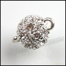 12pairs/lot Wholesale Rhinestone Copper Strong Magnetic Ball Clasps Findings Fit Jewelry Making 10mm 160540