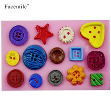 Cute Jelly\Soap\Chocolate Mould DIY Button Shaped Christmas Wedding Decoration Silicone Mold Fondant Sugar Cooking Tools