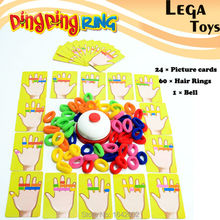 Family Fun  Ring Ding Toy Great Party Games Practical Gadgets Funny Challenge toys,1 Bell,24 pcs picture cards 60 pcs Hair Ring