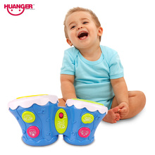 Huanger Kids Timbrel Baby Mini Drum Percussion Musical Joy Instrument 1 year Educational Children Toy set as Plastic Infant Gift
