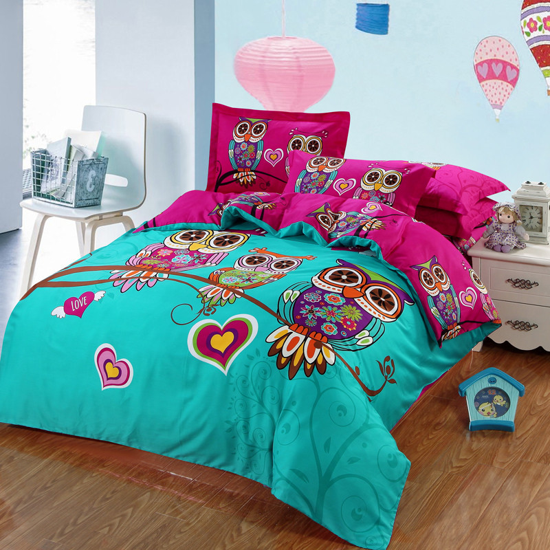 Owls Printed Pink Blue Twin Full Queen King Size 3Pcs Bedding Sets Cartoon Style Cotton Bedlinens Duvet Cover Sets Pillow Cases(China (Mainland))