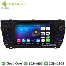 Quad core WIFI FM Android 5.1.1 2Din 1024*600 RDS Car DVD Player Radio Stereo PC Audio Screen GPS For TOYOTA Corolla 2013-2015(China)