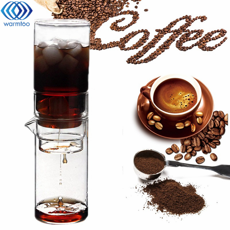 600ml Lead-Free Glass Ice Drip Coffee Pot Large Capacity Coffee Maker Ice Drip Coffee Filters Tool Tea Infuser Home Portable<br>