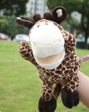 Story toy 1pc 30cm cartoon stereo whimsy giraffe hand puppets plush sleeping pacify educational stuffed baby infant gift