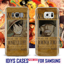 For Samsung Galaxy S4 S5 S6 S7 Edge S8 Plus Note 2 3 4 5 C5 C7 A8 A9 ONE PIECE Wanted Japan Cartoon Phone Case Shell Cover Bag