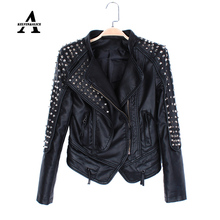 Black Leather Jacket Women Punk Rivets Studded Motorcycle Spiked PU Streetwear Leather Jackets Cazadora Cuero Mujer