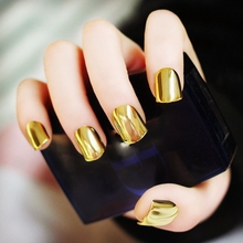 Metal Plating False French Acrylic Nail Tips Without Nail Glue Beauty Nail For Fashion Lady Light yellow N05