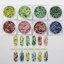 1 Box Marble Griotte Nail Glitters Sequins Mixed Color Powder Uv Gel Nail Art Chorome Dust Glitter 3D Nail Decoration