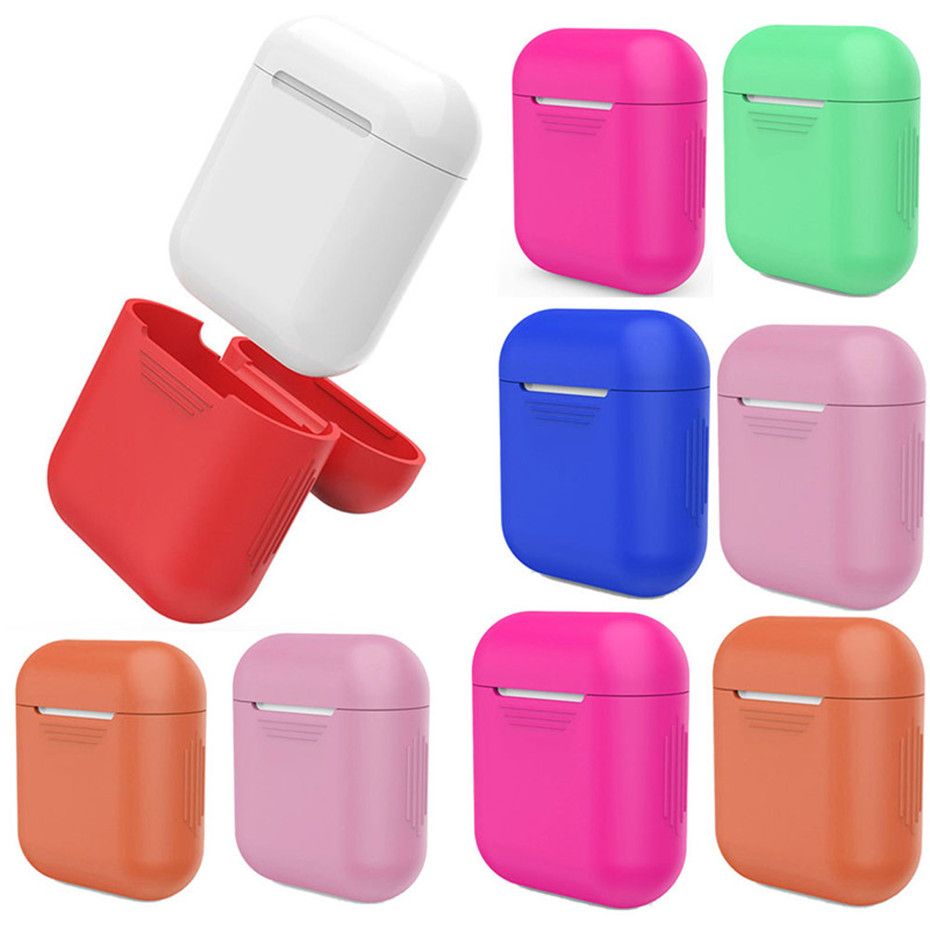 HIPERDEAL Orange Soft Silicone Box Shock Proof Protective Cover Case For Apple AirPods Earphones Multicolor Boxes