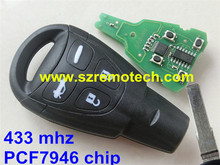 New Smart Remote Key 433Mhz PCF7946AT for SAAB 9-3 93 2003-2010 LTQSAAM433TX 2 Track blade