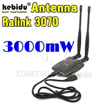 kebidu 3pcs USB Wireless BT-N9100 For Beini free internet receiver High Power 3000mW Dual OMNI Antenna Wifi Decoder Ralink 3070(China)