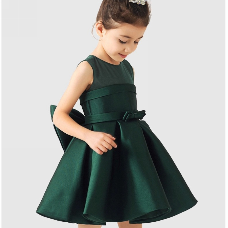 princess dress  2016 new flower girl sleeveless dress Childrens Clothing  red green white color high fabric party dresses<br>
