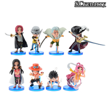 8pcs/set Anime one piece Toys Ace Luffy Nami Usopp Nico Robin Cosplay PVC Action Figure Baby Model Toy