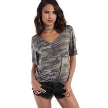 Short sleeve army green camouflage print tees for women casual sporty camo army t shirts ladies girls street V neck choker tops