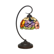Elegant Flowers Tiffany Table Lamp For Study Bedroom Colorful Glass Vintage Desk Light Novelty Gifts Decorative Lighting TL145