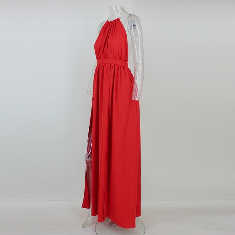 4bf55b52b3a 2019 Wholesale NATTEMAID Women Chiffon Hater Neck Maxi Dress Red ...