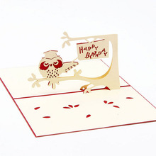 3D Pop Up Card Owl Symbol Wisdom Happy Birthday Thank You Children Day Christmas
