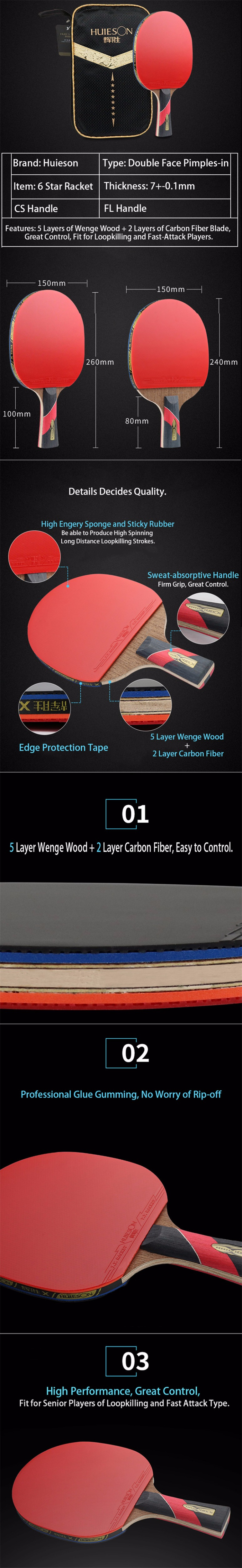 Huieson Wenge Wood & Carbon Fiber Blade 6 Star Table Tennis Racket Sticky Pimples-in Rubber Super Powerful Ping Pong Racket Bat (7)