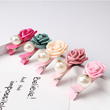 C New Girls Fabric Pearl Flower Hairpins Baby Headwear Children Accessories Flora Pearl Barrette Daily Cute Ornament Hair Clip(China)