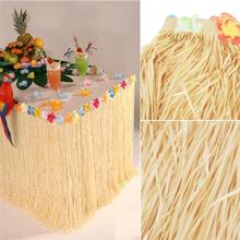 Hawaiian Luau Hibiscus Natural Color String & Colorful Silk Faux Flowers Table Hula Grass Skirt for Party Decoration, Events, Bi(China)
