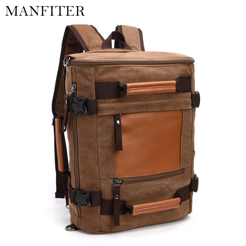 MANFITER 2017 New Mens Canvas Backpack Multifunctional Travel Backpack Large Capacity Men Laptop Bagpack Rucksack Mochila<br>