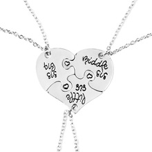 WLP jewelry fashion Broken Heart Parts 3 pieces Little Middle Big Sister Necklaces & Pendants,Love puzzle Necklace silver chain