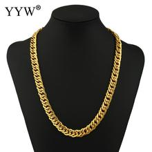 YYW 2017 10mm 21.5INCH Statemen Chain Curb Cuban Gold Filled Necklace MENS Boys Chain High Quality Jewelry Gift(China)