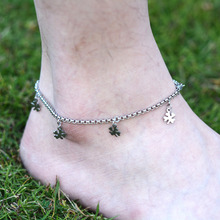 DIY 316L Stainless Steel Anklet Chain with Small Four Leaf Clover Charms Stainless Steel Ankle Bracelet Foot Jewelry A011