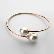 MIGGA High Quality Simulated Pearl Bangle Bracelet for Women Open Adjustable Cuff Bangle Jewelry